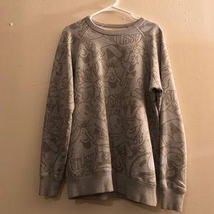 STUSSY grey crew neck sweater